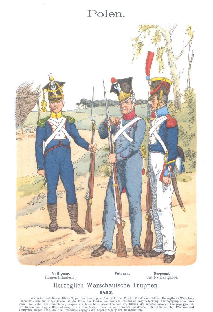 Vol 04 - Pl 09 - Polen. Herzoglich Warschauische Truppen 1812. Voltiguer. Veteran. Sergeant der Nationalgarde.
