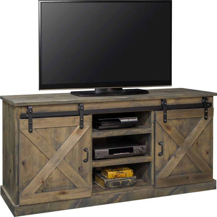 "Legends Furniture FH1420 Farmhouse 66"" TV Stand Console Distressed Barnwood Sliding Barn Doors"