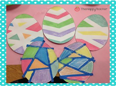 Easter Egg Art project using wet chalk & painter's tape!  Building on this, use painters tape to spell kids name on a canvas then let them paint whatever they want on top, dry, peel the tape off and they have a great sign for their room.
