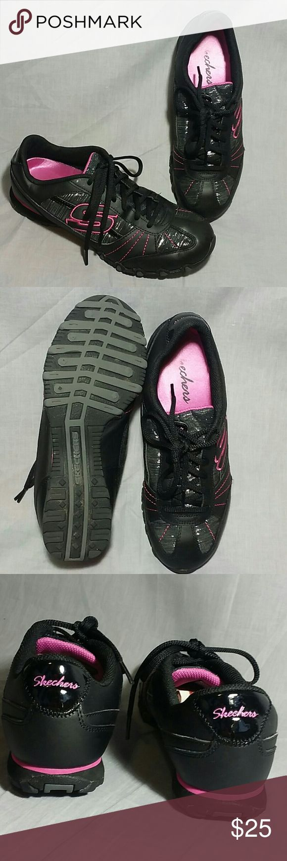 Skechers Shoes Pink/Black 8.5 M Lace ups Leather Women's Shoes Leather / synthetic upper Item is in a good condition. Skechers Shoes Sneakers