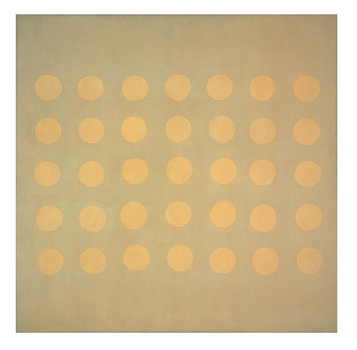 "Agnes Martin, ""Buds,"" 1959.  Oil on canvas, 127 x 127"""
