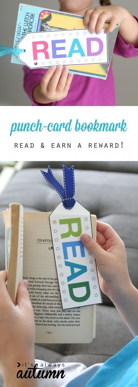 Good idea to encourage and reward reading: free printable punch card bookmarks. Punch a hole each time kids read, and when the card is full they get a reward. Not so sure about the idea of getting a reward for everything, but would be a good idea for reluctant readers. Maybe the reward is a new book!