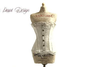 Paper Corset on Stockman Mannequin 3D Paper Sculpture on Wooden Base and Iron stand - Dress Sculpture - Paper Art - Antique Paper Fashion