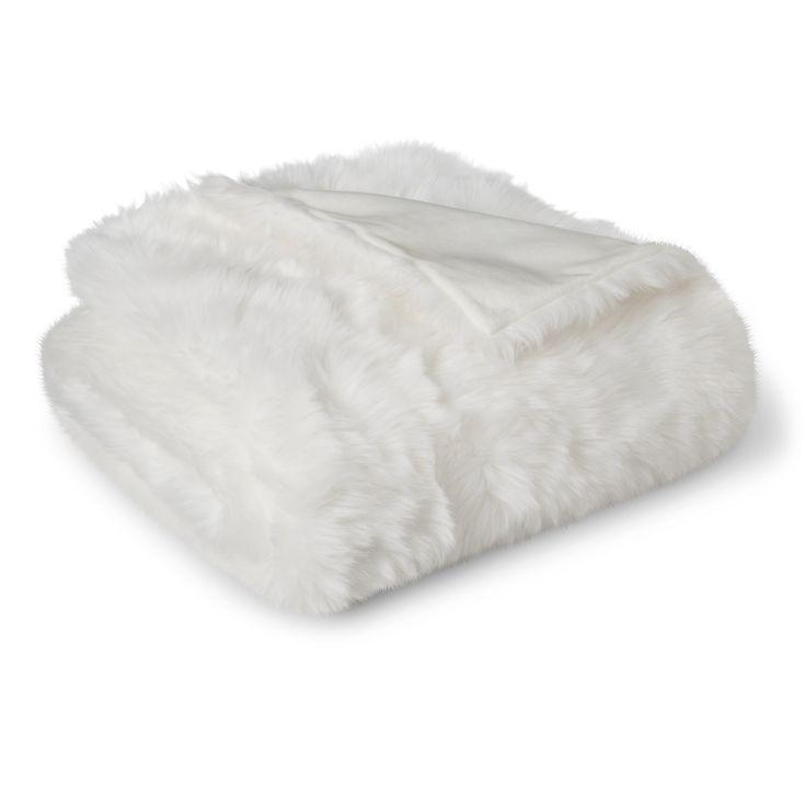 Threshold White Faux Fur Throw Blanket Target White
