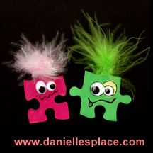 Monster magnet or pin puzzle piece craft for kids  - directions on www.daniellesplace.com