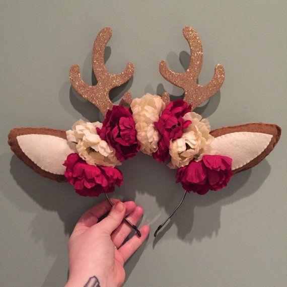 Deer Antler Flower Crown Headband by xoxobb on Etsy