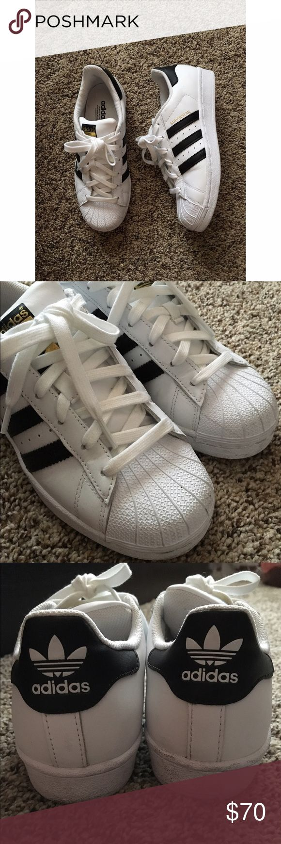 Adidas Originals Superstar Toe Shell Worn only once, basically new. All white with black stripes. Only slight crease on the toe part. Will clean before sending out~ Adidas Shoes Sneakers