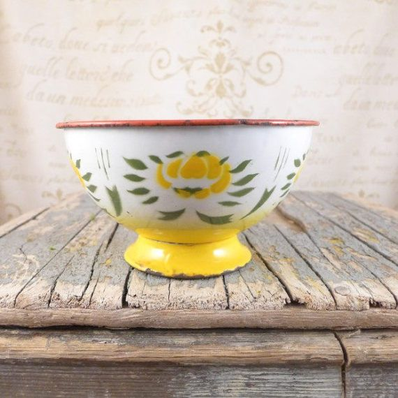 A large enamel bowl platter fruit yellow Enamel by atelierBrocante
