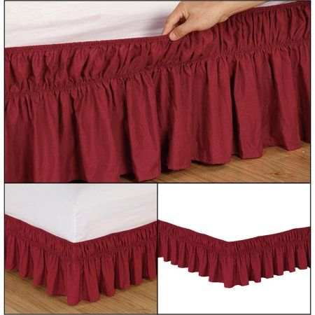 Fashion Street EasyFit Wrap Around Solid Ruffled Bed Skirt, Queen/King Burgundy, Red