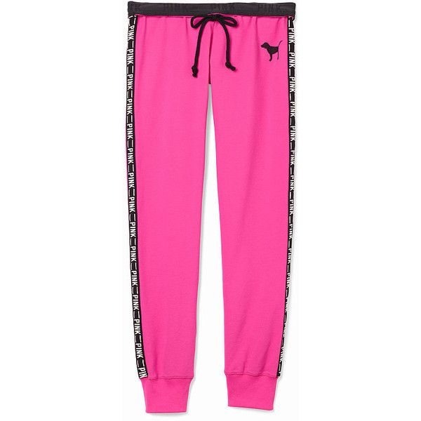 Victoria's Secret PINK Gym Pant ($55) ❤ liked on Polyvore featuring activewear, activewear pants, pants, bottoms, sweatpants, pink, sports sweatpants, pink sweat pants, logo sportswear and pink sweatpants