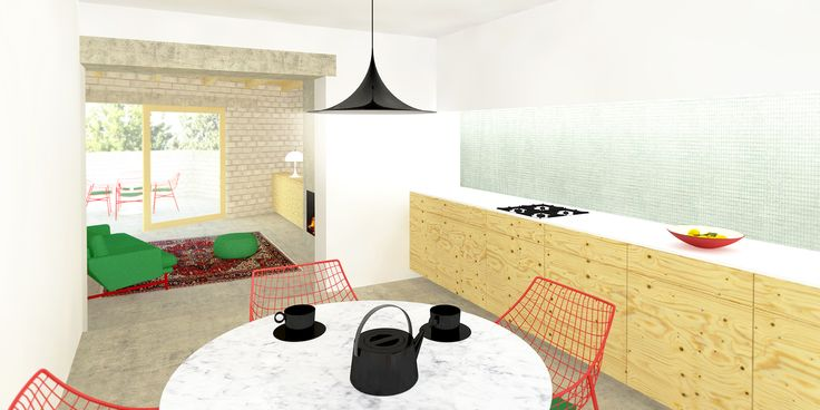 Keuken gemaakt van multiplex voorzien van een wit corian werkblad, wit gestucte wanden en betonvloer. Ontworpen door De Nieuwe Context