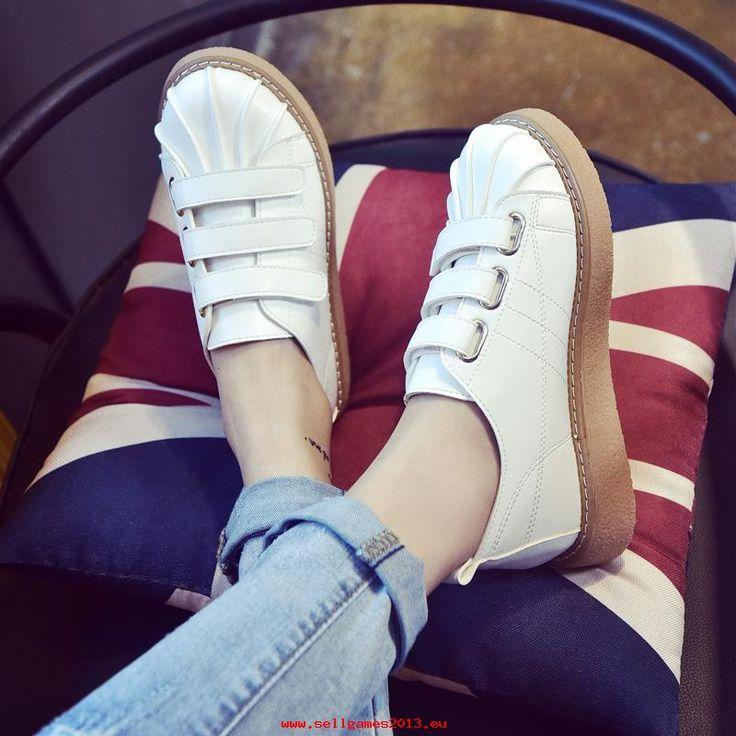 ειδική αιχμής Το καλοκαίρι βέλκρο δέρμα αθλητικά παπούτσια με γυναικεία παπούτσια; Λευκό χαμηλά για να βοηθήσει τους λευκά παπούτσια Adidas