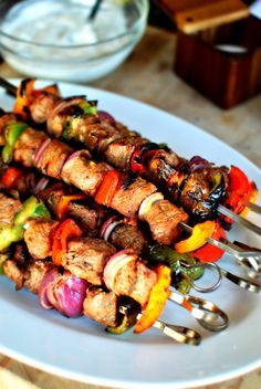 Grilled Marinated Steak Kabobs....I may actually just combine all ingredients and do a stir fry!
