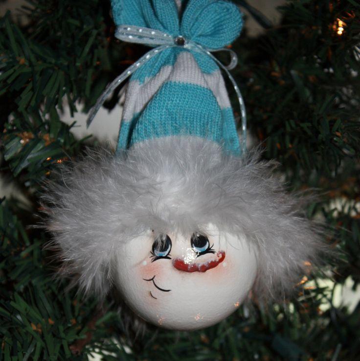 "Hand Painted ""Baby Blue"" Snowman Light Bulb Ornament. $11.00, via Etsy."