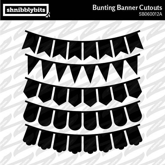 20 Bunting Banner Cutouts  SVG DXF PNG Digital Download