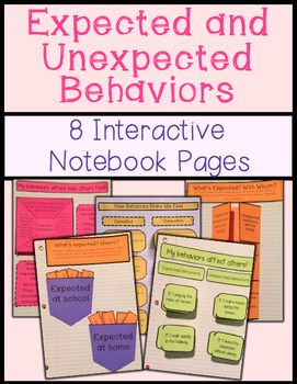 8 interactive notebook pages to teach students about expected and unexpected behaviors. Great for teaching zones of regulation!