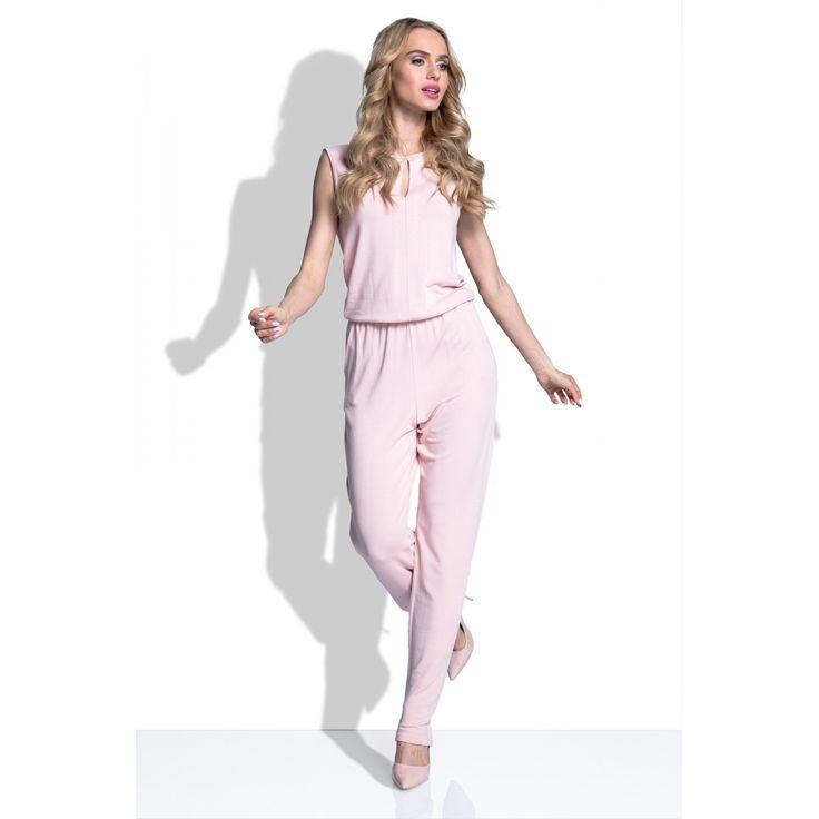 Salopeta roz eleganta fara maneci cu decupaje #Salopetededamaelegante #casual #jumpsuitelegant #jumpsuitromania
