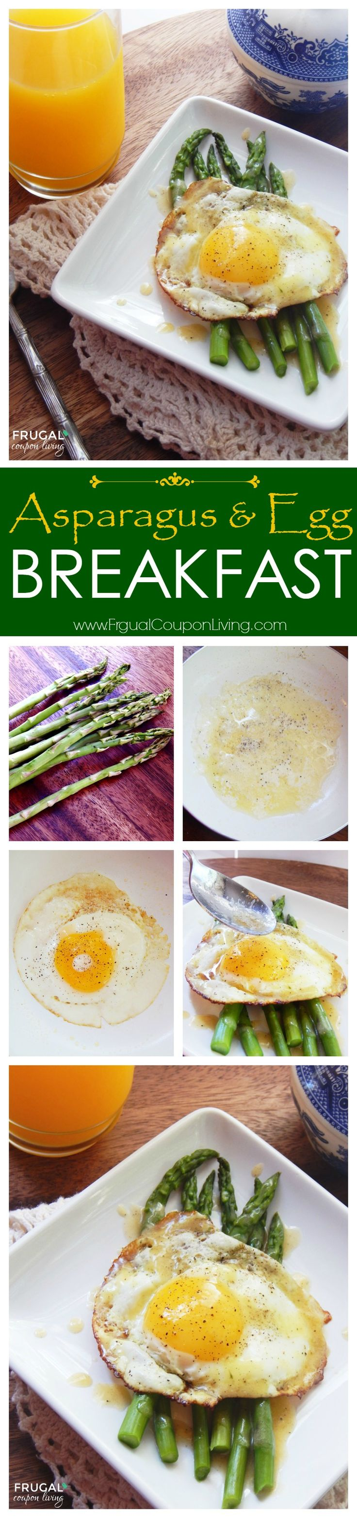 Asparagus & Egg Breakfast - healthy morning breakfast idea - paleo, gluten free, no carbs. Recipe on Frugal Coupon Living.