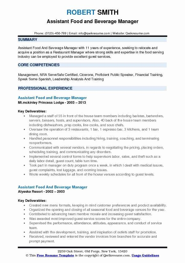 Food And Beverage Manager Resume Best Of Assistant Food And Beverage Manager Resume Samples Job Resume Examples Resume Examples Job Resume Samples