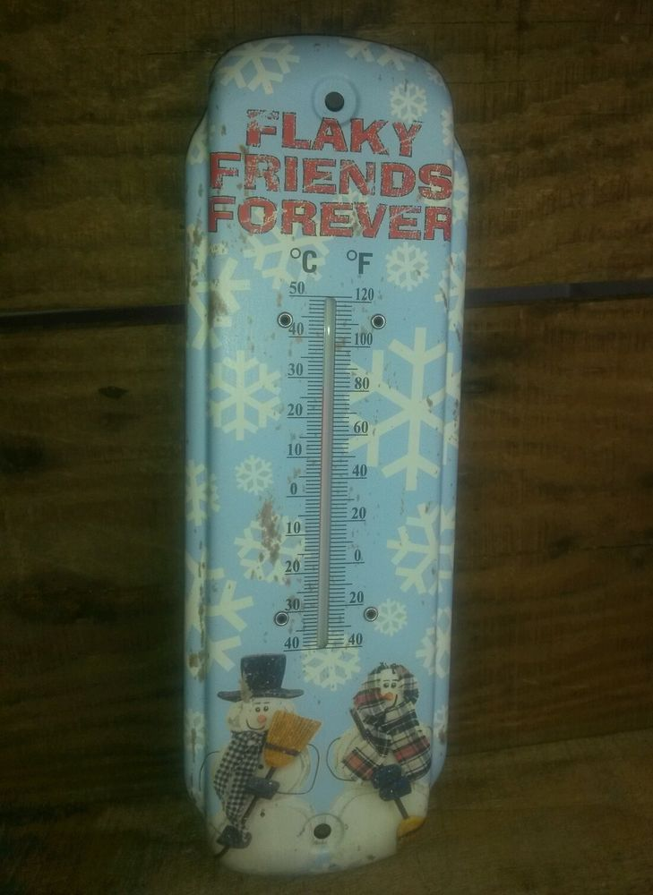 ONLY $5.99 with FREE SHIPPING! PRIMITIVE SNOWMAN THERMOMETER SNOWMEN METAL Country Rustic Decor FREE SHIPPING #NaivePrimitive
