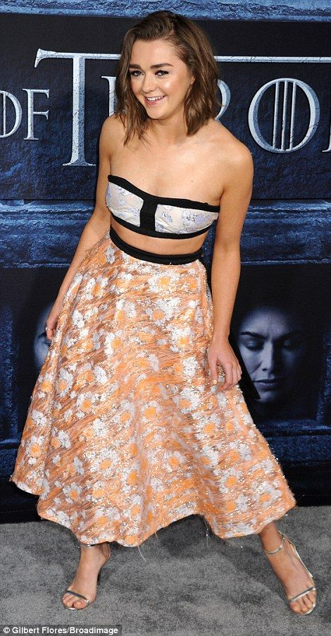Fun: The cute starlet modeled a two piece dress made up of a bandeau top and a full, A-lin...