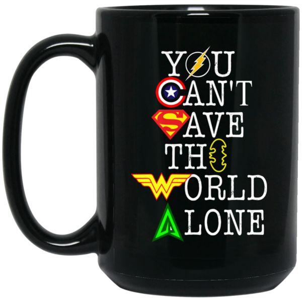 The Flash Captain America Superman Wonder Woman Green Arrow Mug You Can't Save The World Alone Coffee Mug Tea Mug The Flash Captain America Superman Wonder Woma