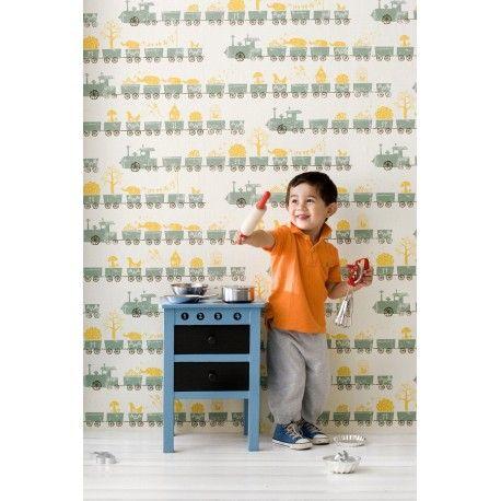 Papier peint enfant petit train par Ferm Living