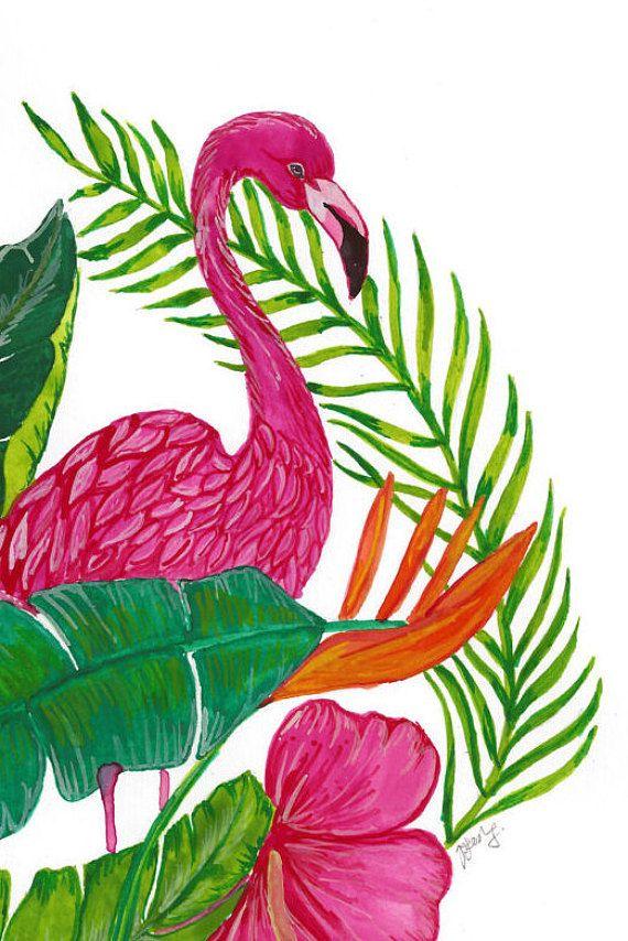 Tropical Flamingo parete arte pittura originale di ThreadedbyPooja