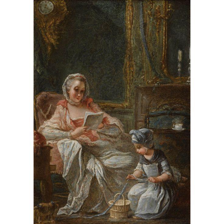 François Guérin   ACTIF ENTRE 1761 ET 1791 À PARIS  SCÈNES D'INTÉRIEUR AVEC UNE JEUNE FEMME ET UN ENFANT  FRANÇOIS GUÉRIN ; A WOMAN AND A CHILD IN AN INTERIOR ; OIL ON ZINC ; A PAIR
