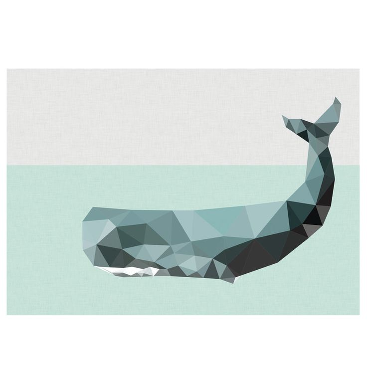 Geometric whale art print | hardtofind.