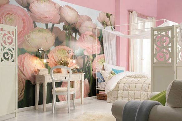 The Mural Blossoms in this room a beautiful feature Wall to tie in the rooms colour scheme