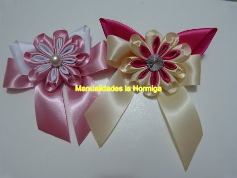 Novedosas flores moños accesorios para el cabello .ribbons and flowers for hair - YouTube