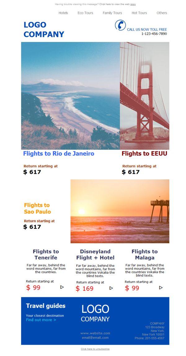 ¿Vuelos a precios locos? ¿Viajes por cuatro duros? Si lo tuyo son los vuelos baratos esta plantilla newsletter es para tí.