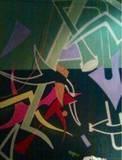 Graffiti art painting shapes cool colors