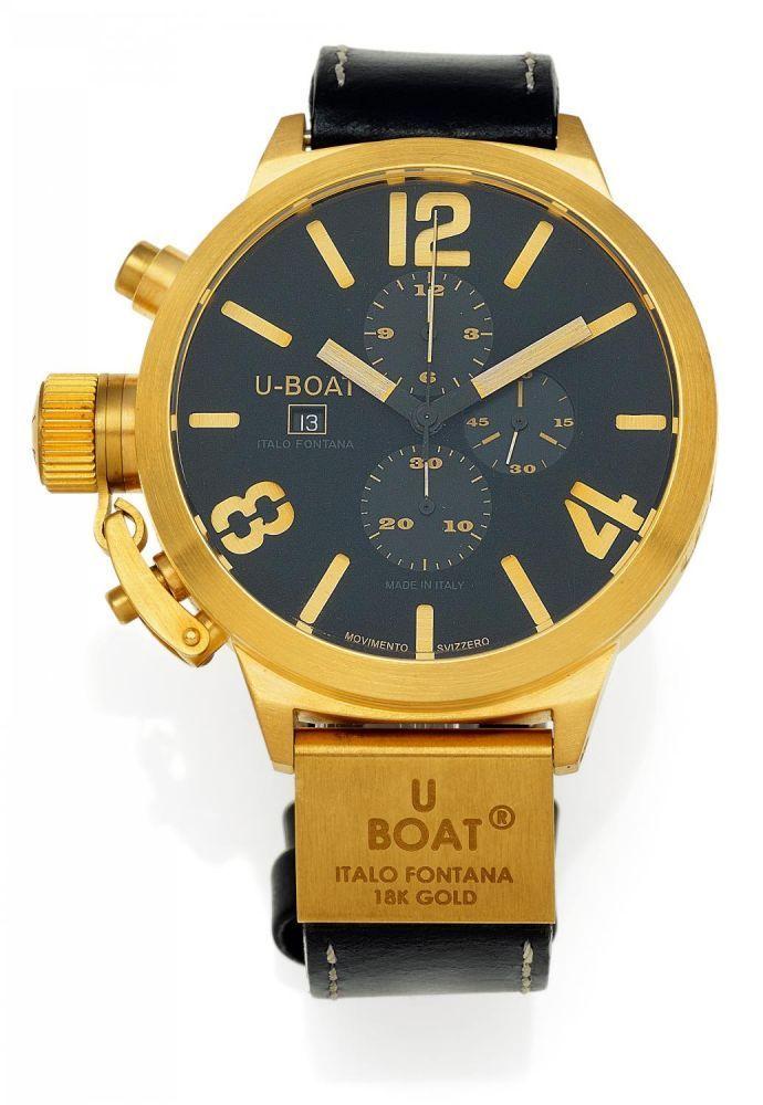 U-BOAT Italien, um 2010 Flightdeck U7750/52. Herrenuhr. Automatik. 750/- Roségold, Orig.-Lederban