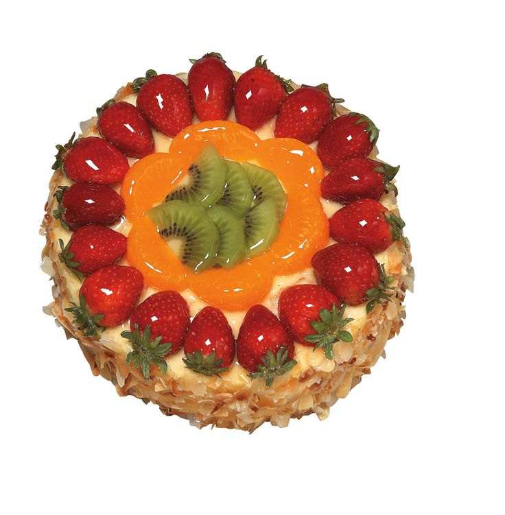 Fruit Delight - beautiful light vanilla sponge with layers of custard and topped with tropical fruits and coated with slivered almonds around edge.