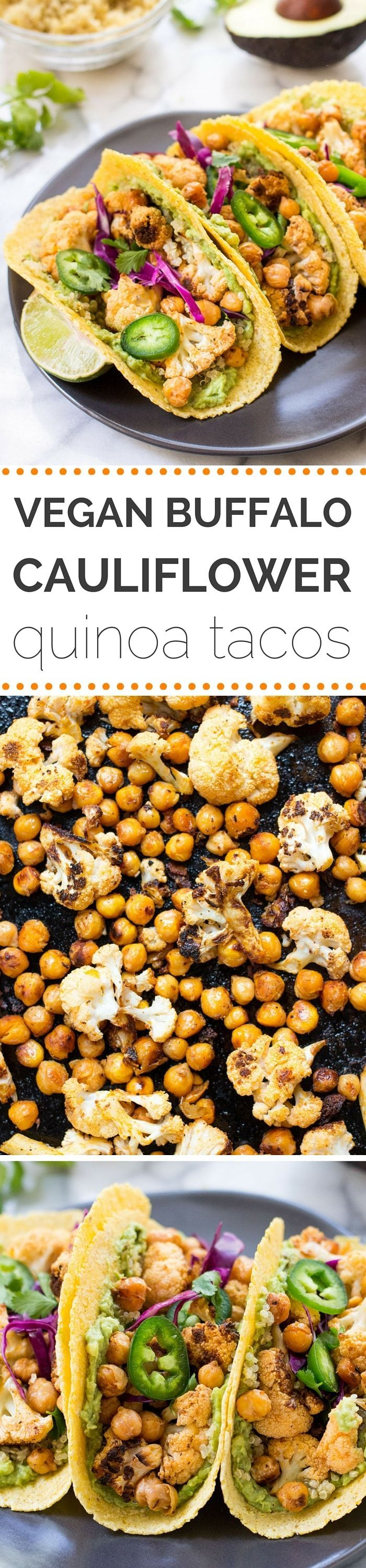 BUFFALO CAULIFLOWER + QUINOA TACOS -- a healthy meatless meal that is packed with nutrition and TONS of flavor!