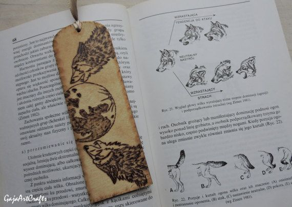 Wolves howling at the full moon wooden bookmark Pyrography