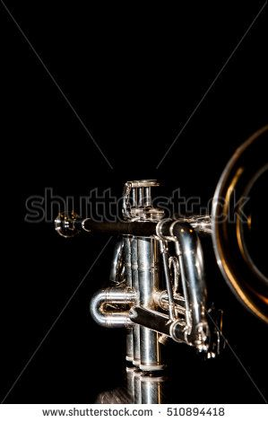 Damian Gretka. Microstock Photography. musical instrument which is a trumpet on a black background / trumpet, wind instrument