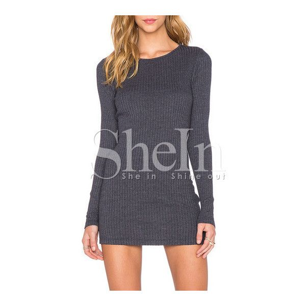 SheIn(sheinside) Grey Long Sleeve Bodycon Dress ($13) ❤ liked on Polyvore featuring dresses, short bodycon dresses, grey dress, grey t-shirt dresses, short sleeve dress and grey long sleeve dress