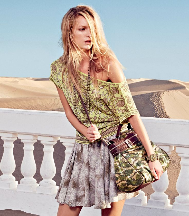 TWIN-SET Simona Barbieri: Jacquard sweater, skirt with lace print, necklace, bracelets and Cécile bag camouflage effect