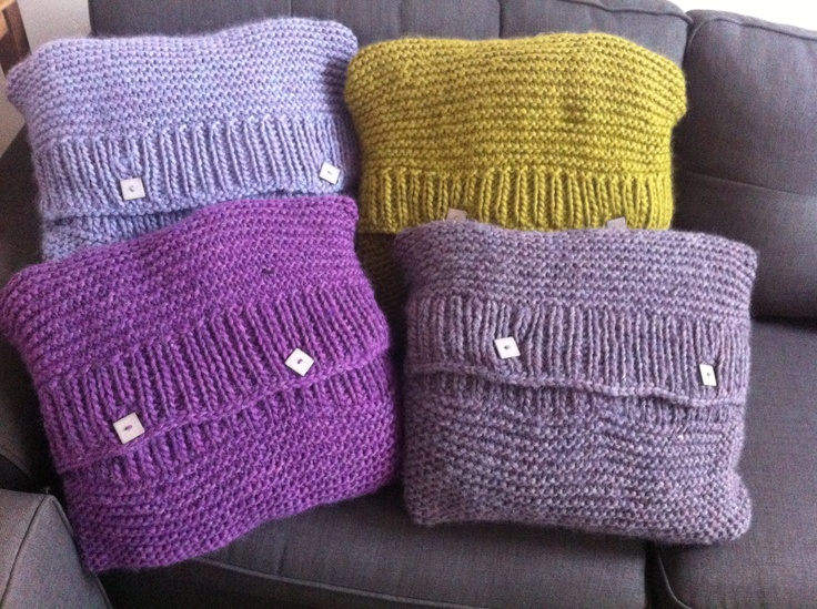 Knitting Patterns For Eskimo Wool : Soft (slightly misshapen) knitted cushions. Knitted with Drops Eskimo wool an...