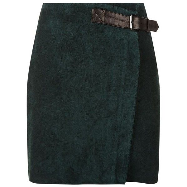 Reiss Chase Suede Mini Wrap Skirt (6.445.585 VND) ❤ liked on Polyvore featuring skirts, mini skirts, green wrap skirt, wrap skirt, mini skirt, green skirt and reiss skirts