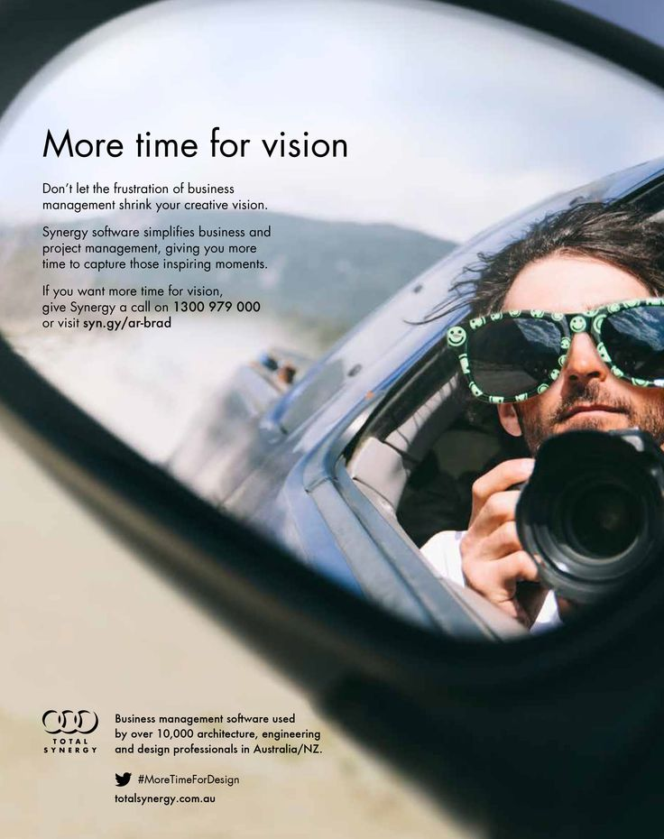 Meet Brad from our latest 'more time for...' advertising campaign for 2015. Brad has found more time for vision   Synergy Practice Management - the right software to manage business - design for architects and engineers