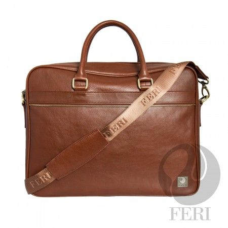 "Global Wealth Trade Corporation - FERI Andre  Murse Brown,  Adjustable nylon shoulder strap with FERI embossed - Interior pockets / pouches for an organized bag - Customized FERI lining and hardware - Double zip closure - Front flat pocket with zip closure and back zippered pocket - Interior zip pocket - Tablet padding and smart phone pocket - Dimension: 16.5"" x 13"" x 5"" Visit page for more info."