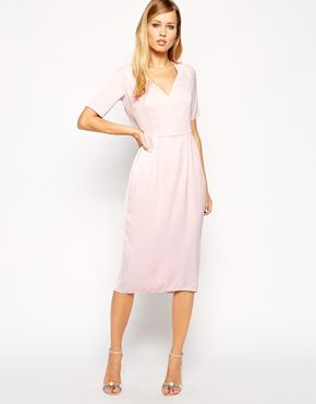 ASOS Sleeved Draped Back Midi Dress