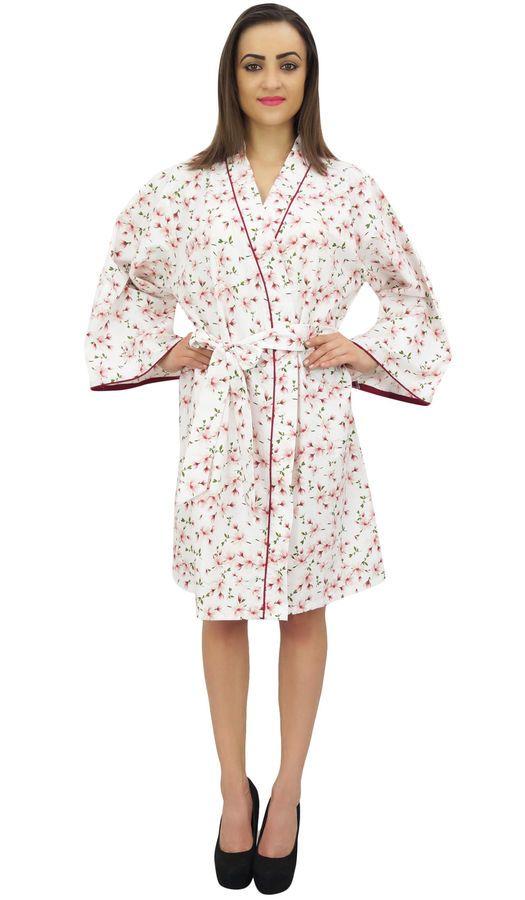 fb1d0b5725 Bimba Women s White Floral Printed Full Sleeve Bridesmaid Kimono Robe White  Floral apos