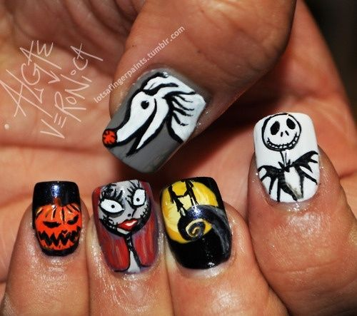 crazy nail design I might try this next Halloween.