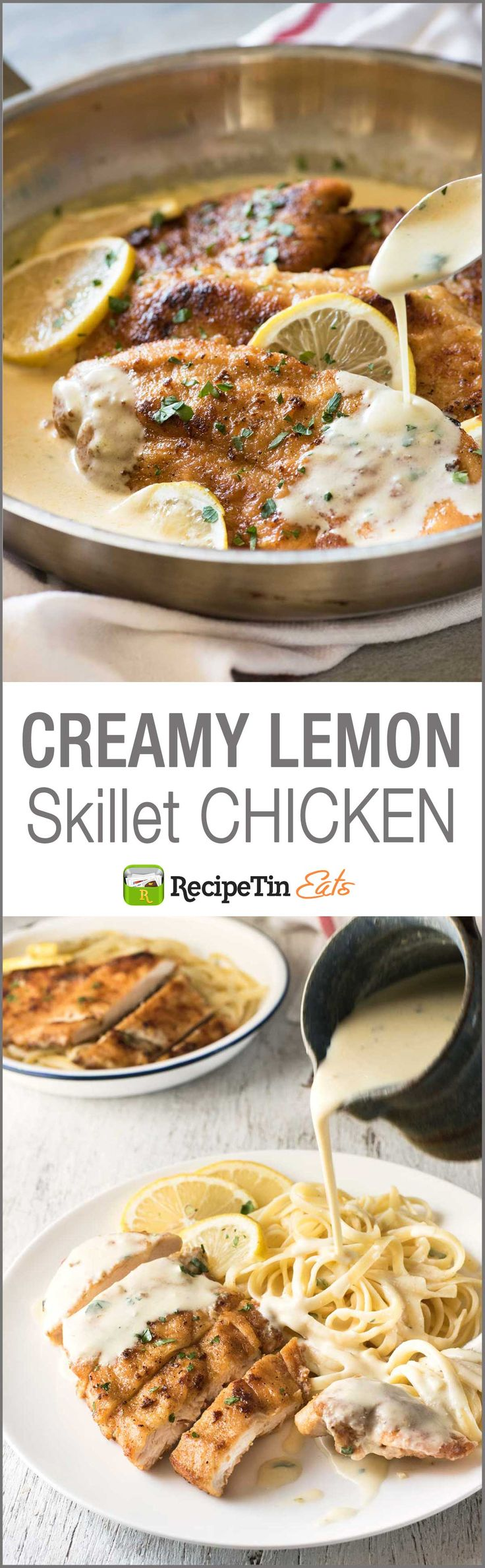 Creamy Lemon Chicken - All made in one skillet, and on the table in about 15 minutes!