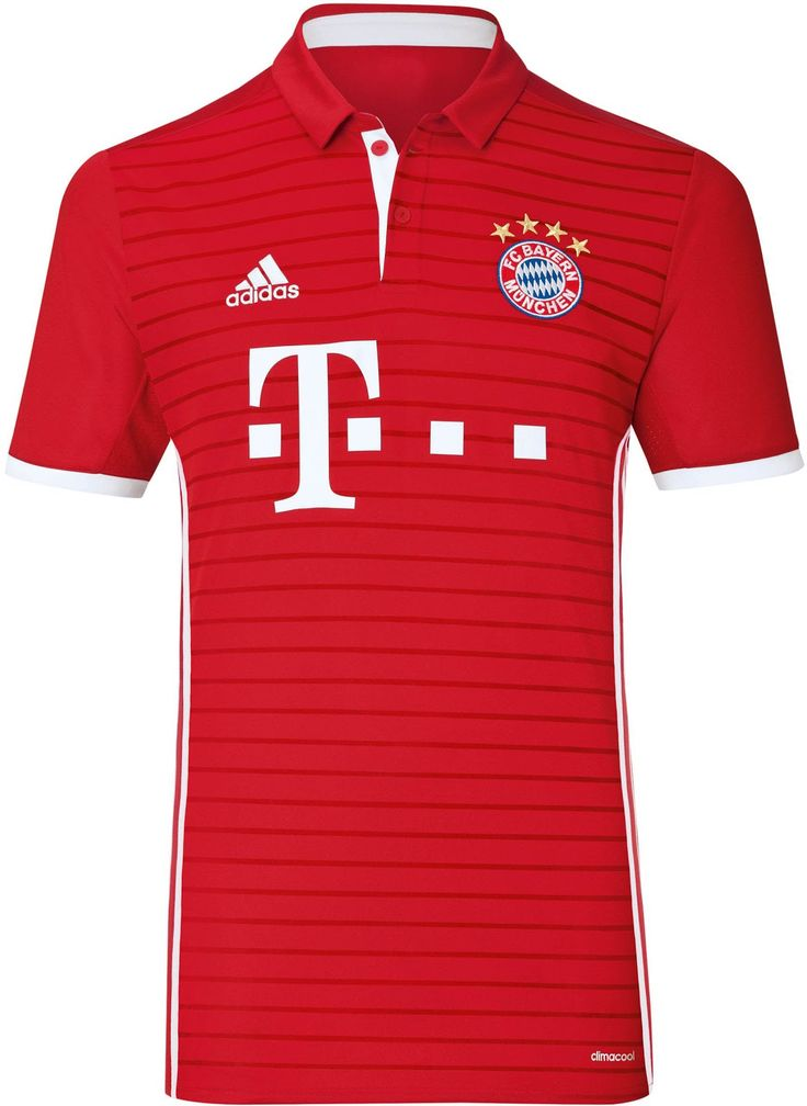 The Bayern München 16-17 home kit combines traditional style with modern elements.